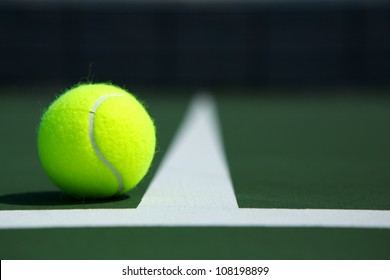 Tennis Ball on the Court Close up