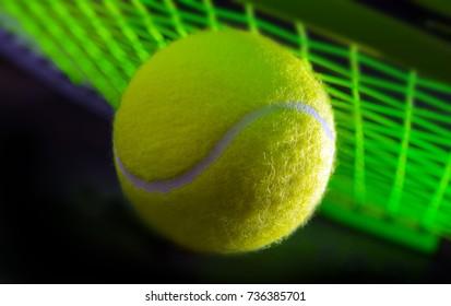 tennis ball on a tennis court, closeup