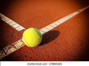 Tennis Ball on a tennis court with copy space