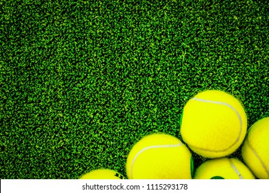 tennis ball on green background top view mock up