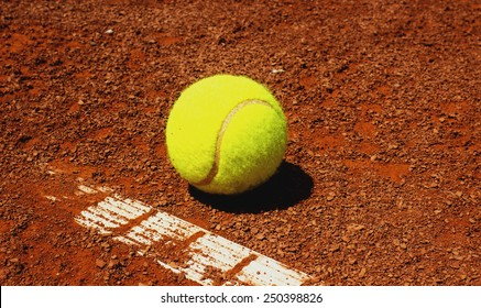 Tennis ball on red clay court,Clay Court Season