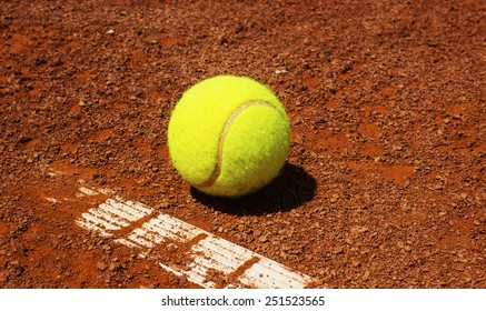 Tennis ball on red clay court,Clay Court Season with a finish in a Roland Garros