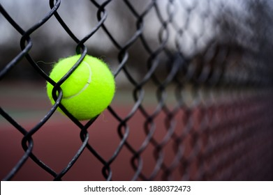 Tennis ball stuck in a fence.