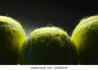 Tennis balls, extreme close-up
