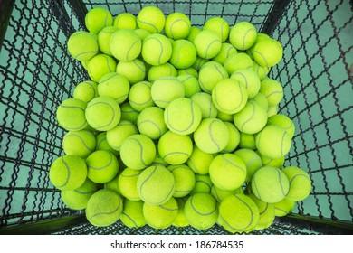 Tennis balls in iron basket