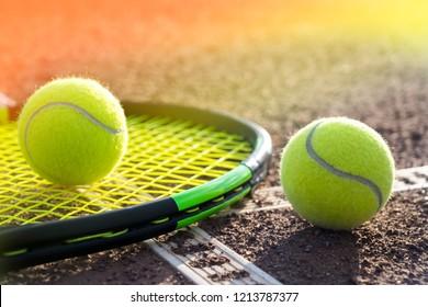 tennis balls on a tennis court