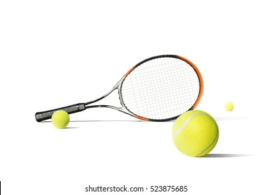 Tennis balls and racquet isolated the white background