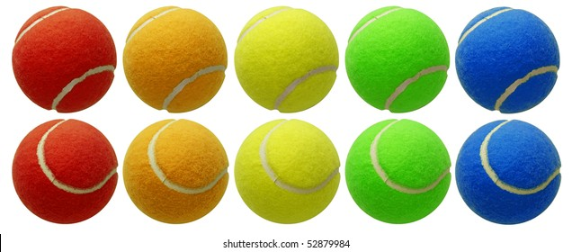 tennis balls set isolated on white background with clipping path