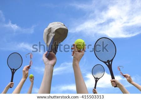 7e9dfd6c69e Tennis Balls Sunglasses Racket Cap Hand Stock Photo (Edit Now ...