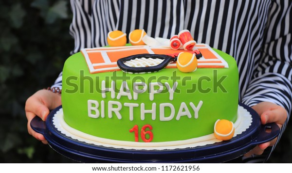 Terrific Tennis Birthday Cake Stock Photo Edit Now 1172621956 Funny Birthday Cards Online Alyptdamsfinfo