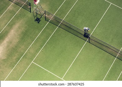 The tennis court from the above.