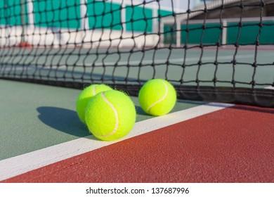 Tennis court with ball closeup