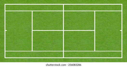 Tennis court field on green grass Baseline for a tinnis sport game isolated on white background