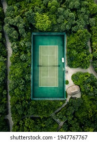 A tennis court in the jungle on an island in the Maldives