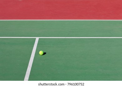 tennis court lines and a ball