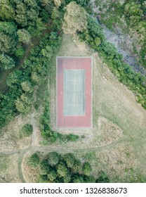 Tennis court looked from above