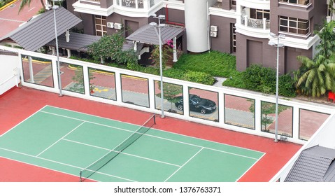 tennis court, luxury car near mansion with landscape design, well-being concept, high angle