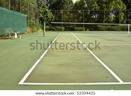 Tennis Court Old Bench White Towel Stock Photo Edit Now 52334425