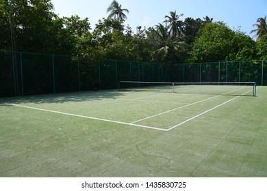 Tennis court on a tropical island, Maldives