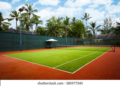 a tennis court, the Seychelles islands