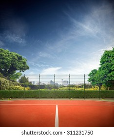 Tennis court in the sunny day horizont