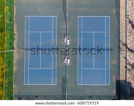 Tennis Court Top Down Aerial View Stock Photo Edit Now 608719319