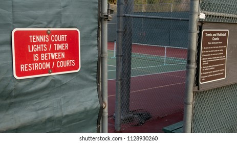 Tennis Courts Lights and Restroom Sign