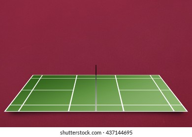 Tennis field plan against red background