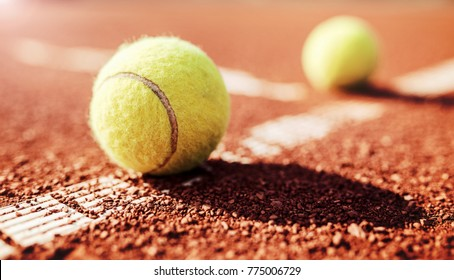 Tennis game. Tennis ball on the tennis court. Sport, recreation concept