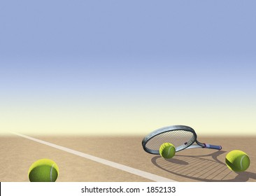 Tennis image with racquet, balls and space for text