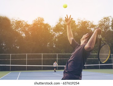 Tennis match which a serving player