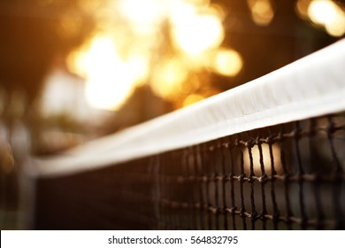 Tennis net with bokeh nature in the background.soft focus