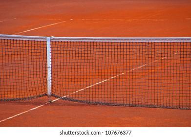 Tennis net on empty court