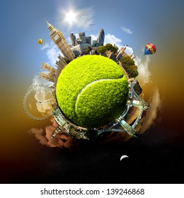 Tennis planet of London - symbolic illustration of London, UK, built on a tennis ball, with all important buildings and attractions of the city