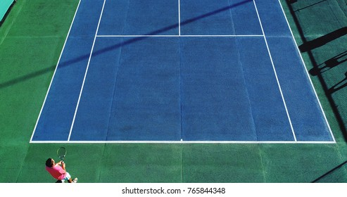 tennis player aerial view