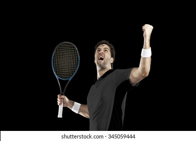 Tennis player with a black shirt, celebrating, on a black background.