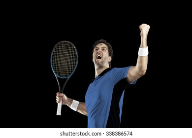 Tennis player with a blue shirt, celebrating, on a black background.
