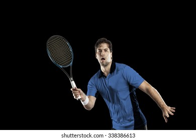 Tennis player with a blue shirt, playing on a black background.