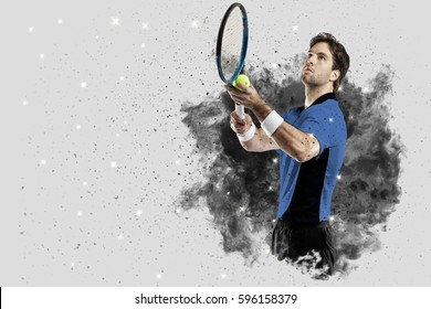 Tennis Player with a blue uniform coming out of a blast of smoke .