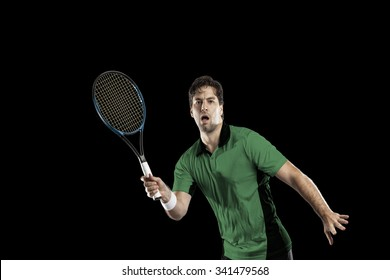 Tennis player with a green shirt, playing on a black background.