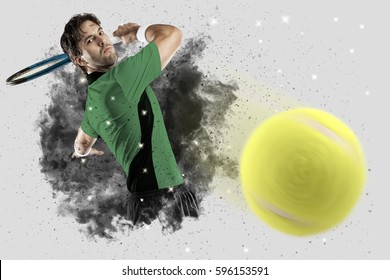 Tennis Player with a green uniform coming out of a blast of smoke .
