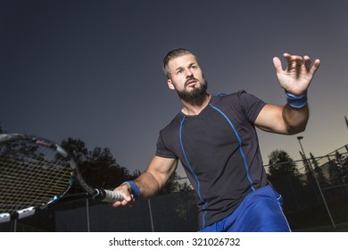 A tennis player having fun to play