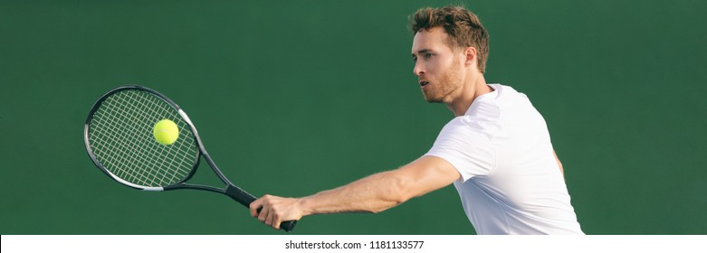 Tennis player hitting ball with backhand racket on hard court. Man playing game returning ball on panorama banner. Sports and fitness active lifestyle.