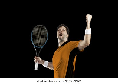Tennis player with a orange shirt, celebrating, on a black background.