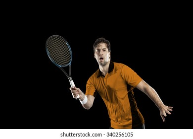 Tennis player with a orange shirt, playing on a black background.
