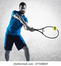 Tennis player over textured background