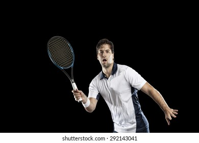 Tennis player playing on a black background.