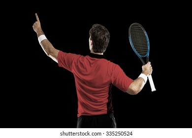 Tennis player with a red shirt, celebrating, on a black background.