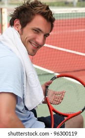 Tennis player resting