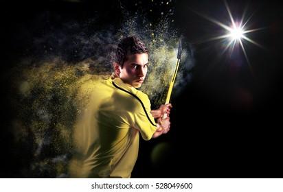 Tennis player sport portrait background hitting backhand